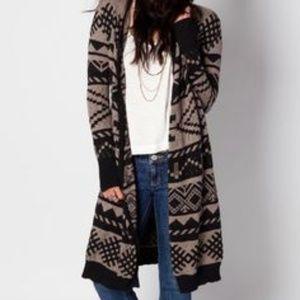 O'neill Black brown aztec Cardigan sweater